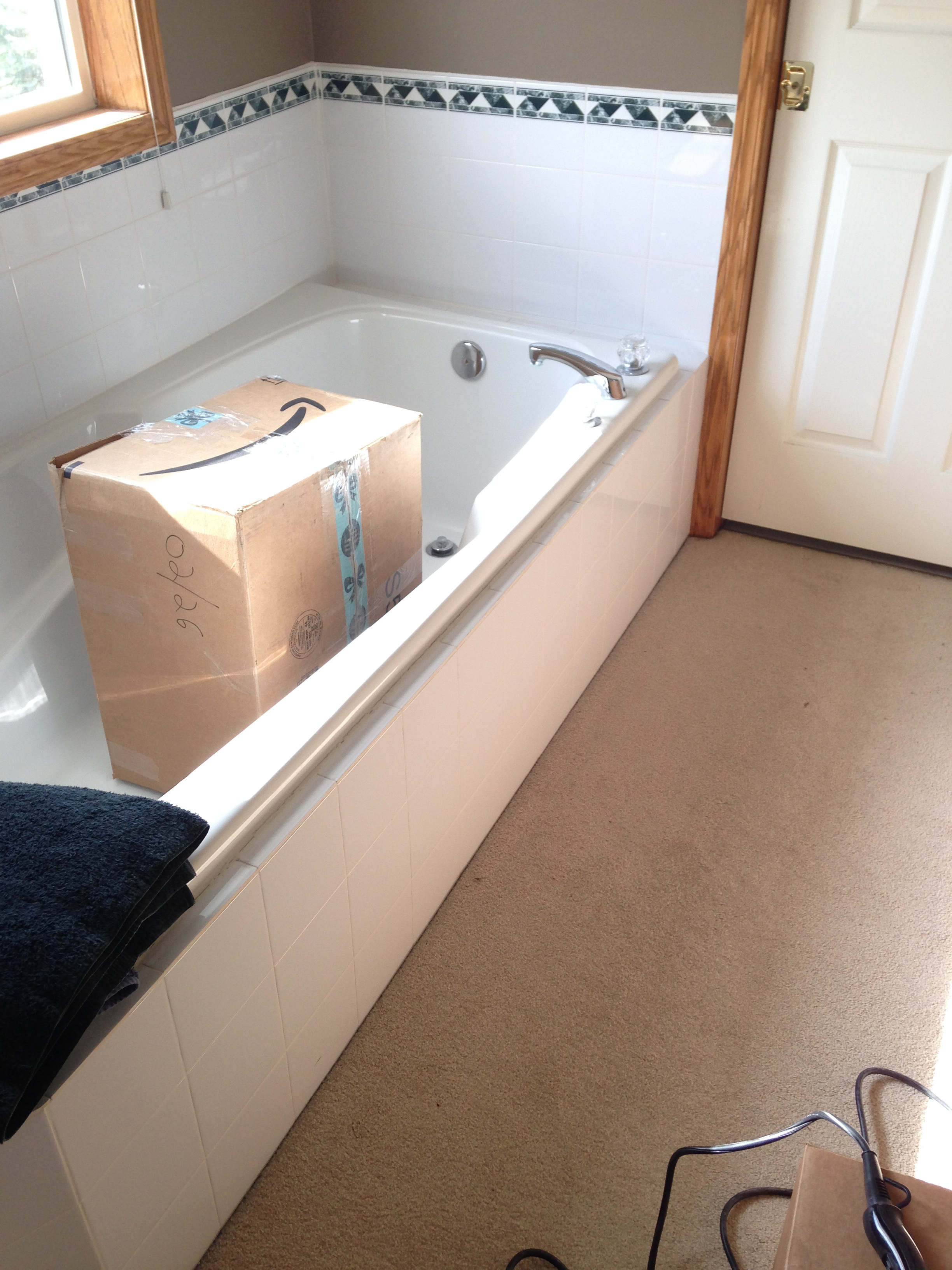 bathtub inside carpeted room