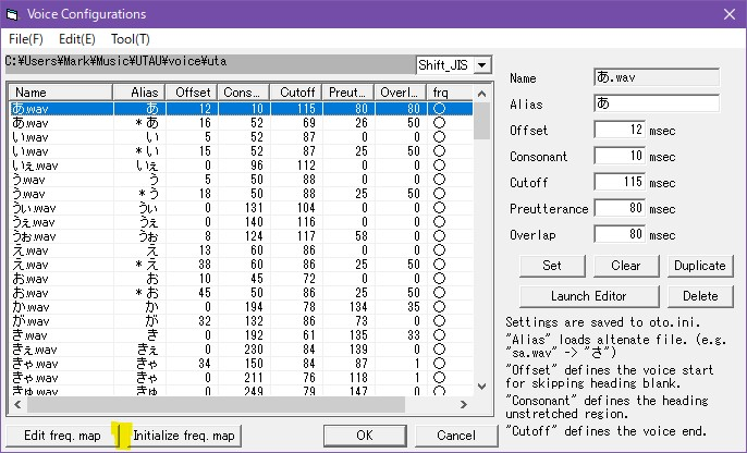 Screenshot of OTO window with area between buttons highlighted
