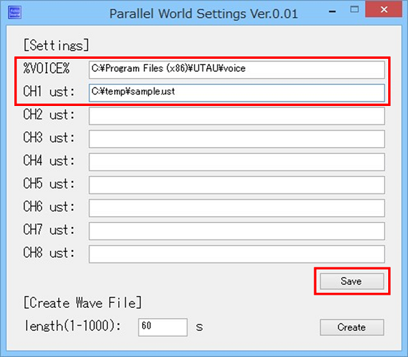 pwsettings screenshot, set paths