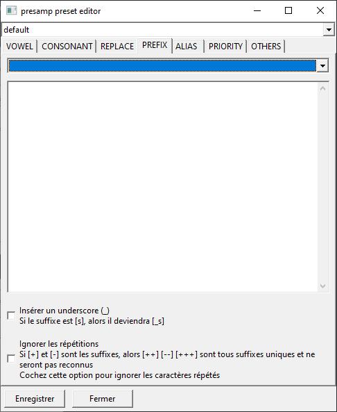 Capture d'écran du plugin, l'onglet de prefix