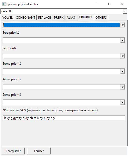 Capture d'écran du plugin, l'onglet de priority