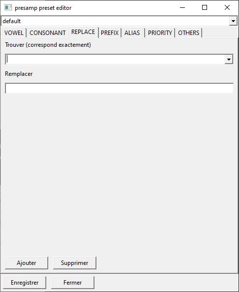 Capture d'écran du plugin, l'onglet de replace